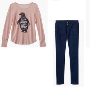 Mudd Penguin Top and Jeggings Outfit size 16